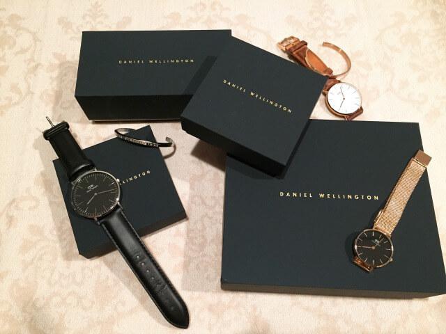 お洒落に並べられたダニエルウェリントンの腕時計