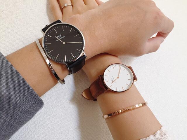 カップルがペアでダニエルウェリントンの腕時計をつけた画像