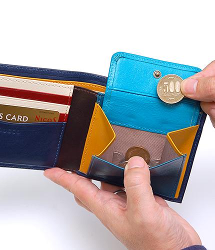 JOGGOの本革二つ折り財布の内部