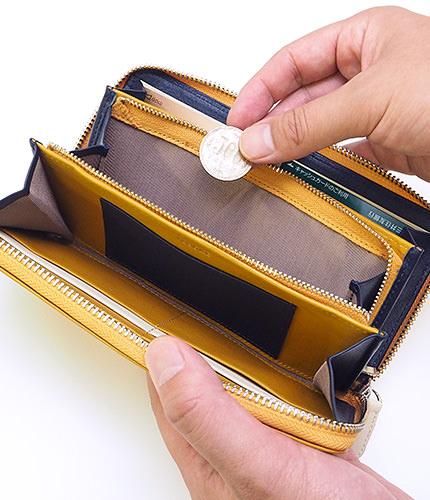 JOGGO本革ラウンドファスナー長財布の内部