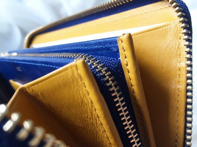 JOGGOレディースラウンドファスナー財布のマスタードイエロー
