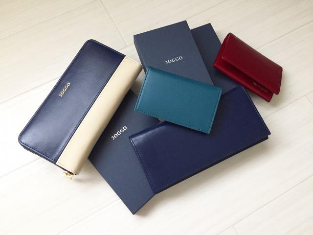 joggo本革長財布とレディースラウンドファスナー財布と本皮名刺入れと二つ折りパスケース