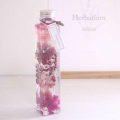ハーバリウム_角瓶ピンク