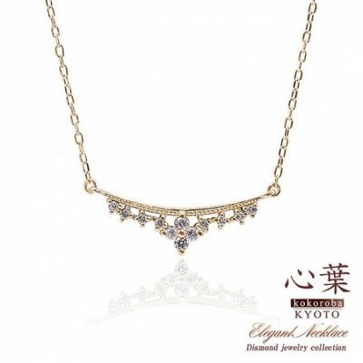 JewelryROLA 心葉 ダイヤモンド フラワーネックレス K10