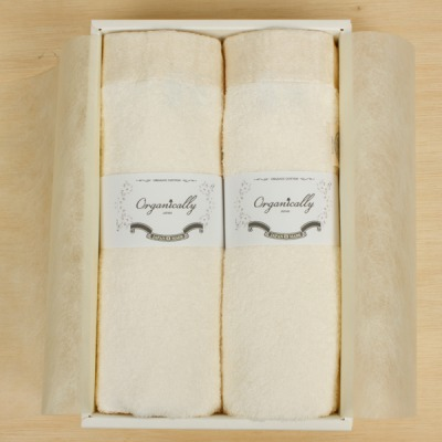 Organically リッチホワイトフェイスタオル2枚セットのギフトボックス