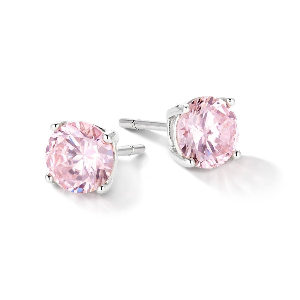 ニューヨークからの贈り物_0.5カラット 一粒 シルバー925 czピンクダイヤモンド ピアス_商品写真