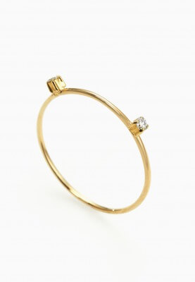 SHUN OKUBO WIRE GOLD RING with Two Diamonds