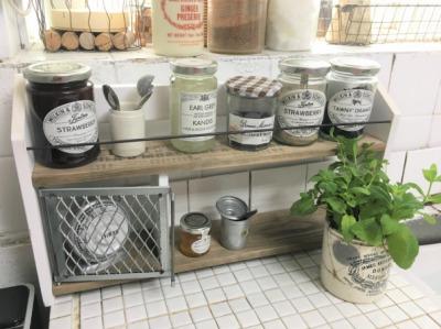 Shop Is. 木製 スパイスラック 調味料ラック