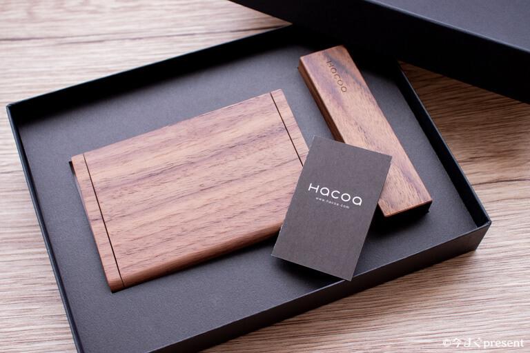 Hacoa_木の名刺ケースと印鑑ケース