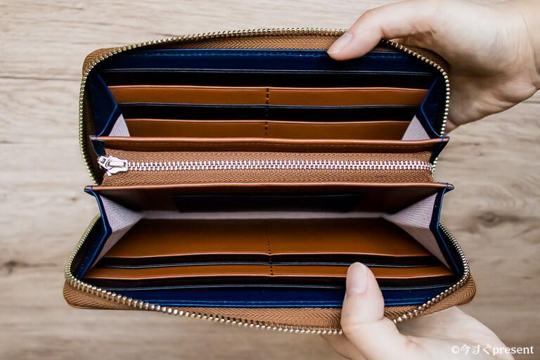 JOGGO_メンズラウンドファスナー財布_マチを開いている写真_2