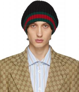 GUCCI ニット帽 ブラックウールウェブビーニー