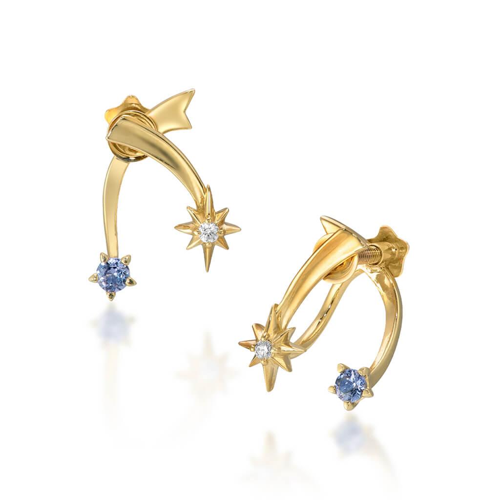 STAR JEWELRY_スタージュエリー_K10 イヤリング_CROSSING STAR EARRINGS_商品写真