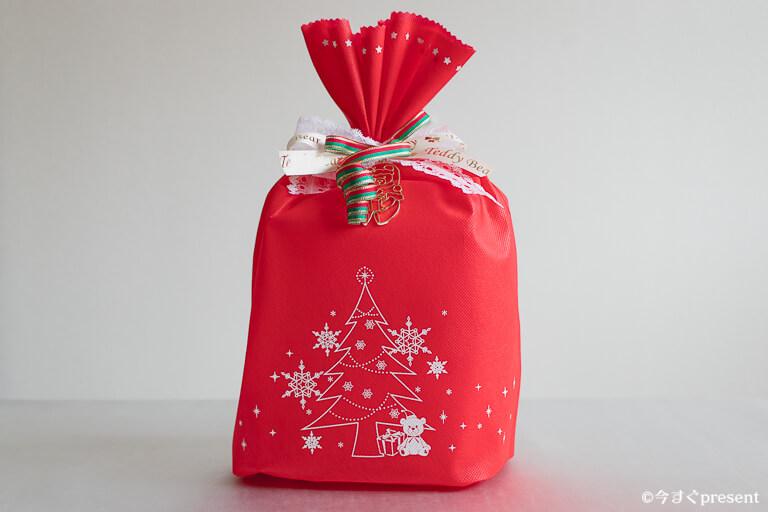 ハッピーテディベア_巾着のクリスマスラッピング