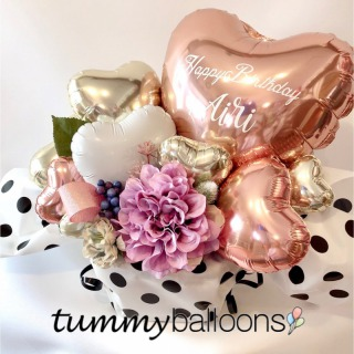 tummyballoons_バルーンアレンジ*ドットローズピンク_商品写真