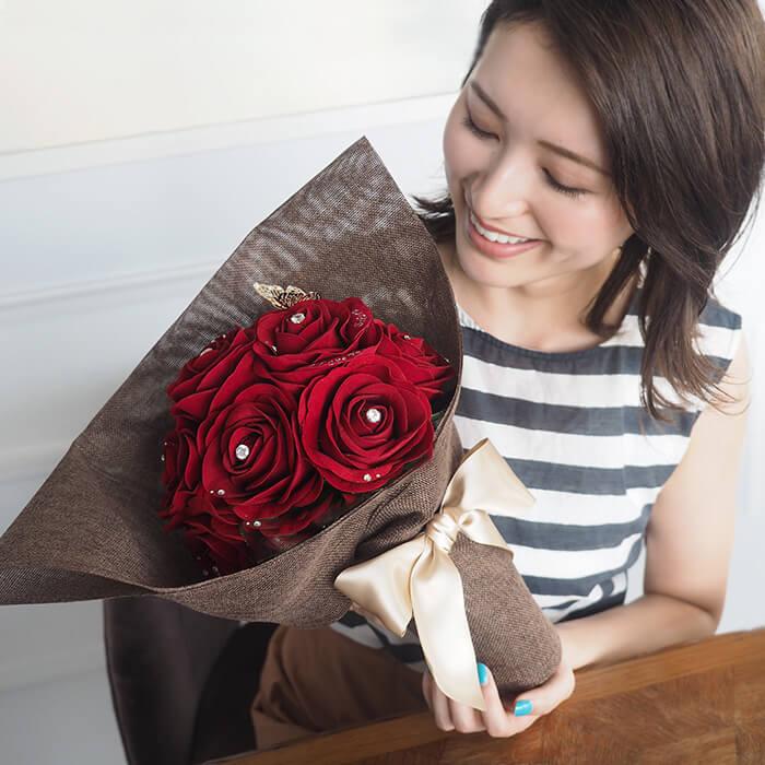 メリアルーム_12本の赤バラの花束と花瓶セット