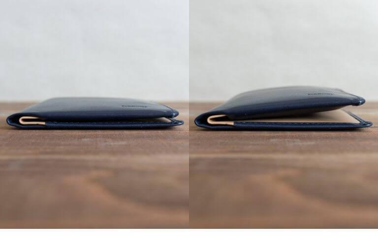 ベルロイ_Bellroy Note Sleeve Wallet_カード収納有り無しの比較