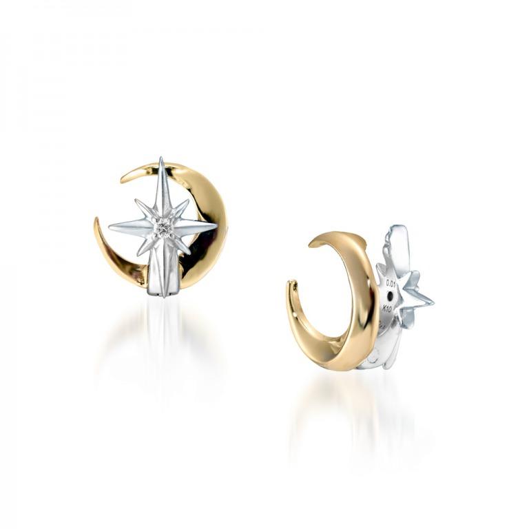 STAR JEWELRY K10 イヤリング CROSSING STAR & MOON DIAMOND EARRINGS