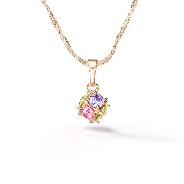 ニューヨークからの贈り物_マルチカラーネックレス 虹色 アミュレット ダイヤモンドカットチェーン付き 幸運をよぶネックレス_商品写真1