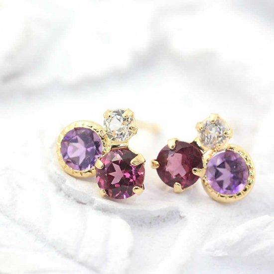 JewelryROLA_ローラ_K18YG アメジスト&ロードライトガーネット&ホワイトトパーズ ピアス_商品写真1