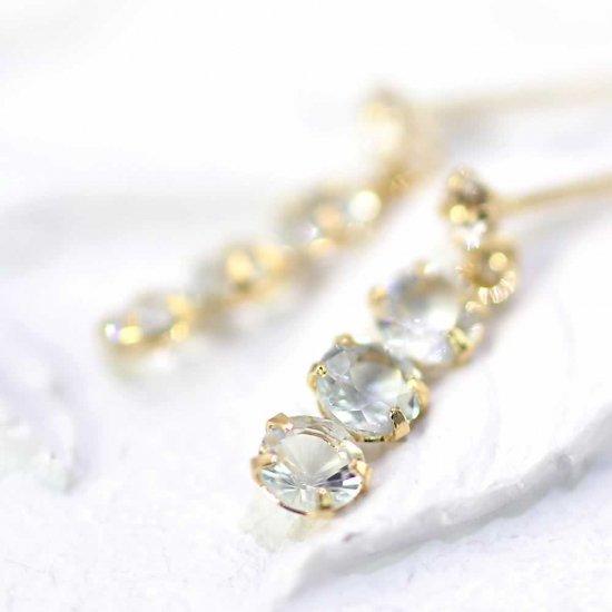 JewelryROLA_ローラ_K18YG アクアマリン&ホワイトトパーズ トリロジーピアス_商品写真1