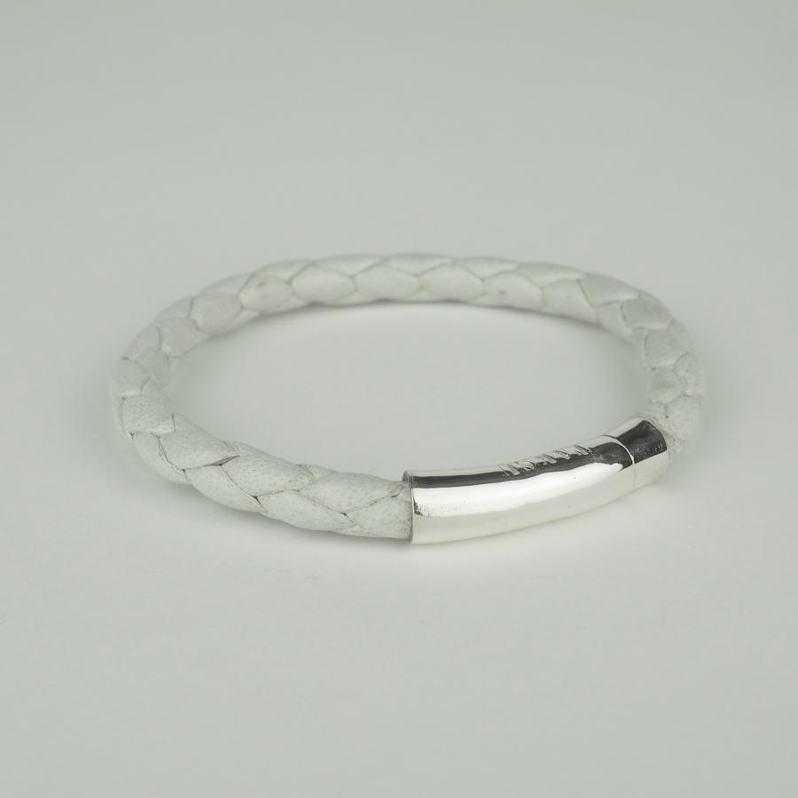 yuzen_ユゼン_【TAKSU COLLECTION】LEATHER BRACELET 002 WHITE ブレスレット_商品写真1