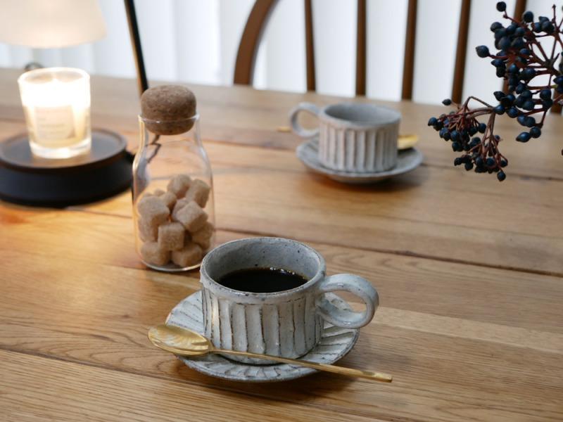 兵山窯_しのぎコーヒー椀_商品写真