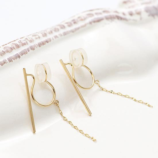 JewelryROLA_ジュエリーローラ_K10YG バー&チェーンイヤリング_商品写真1