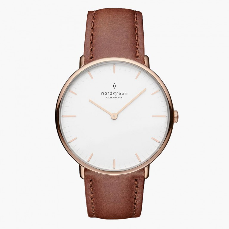 Nordgreen_Native white-dial-brown-leather