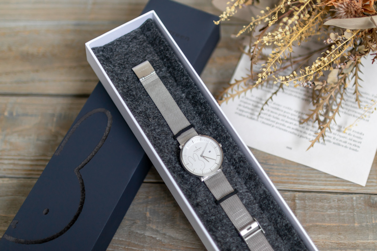 Nordgreen_ノードグリーン_ミッフィーコラボ腕時計_Philosopher - Nordgreen X Miffyメッシュ_ボックスと全体